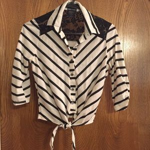 Lace backed striped blouse